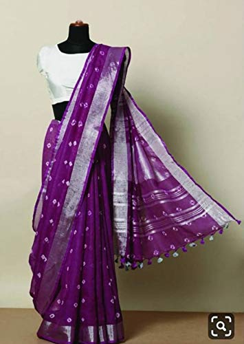 printed linen saree